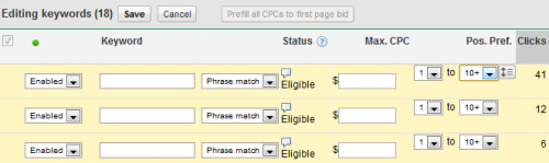 Google AdWords Position Preference Selection