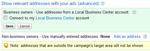 Google Local Ads -- Enter Address Or Link Local Business Center Account