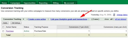 Link Google Analytics & Google AdWords Goal Conversions