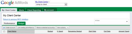 New Google AdWords MMC Budget Tab
